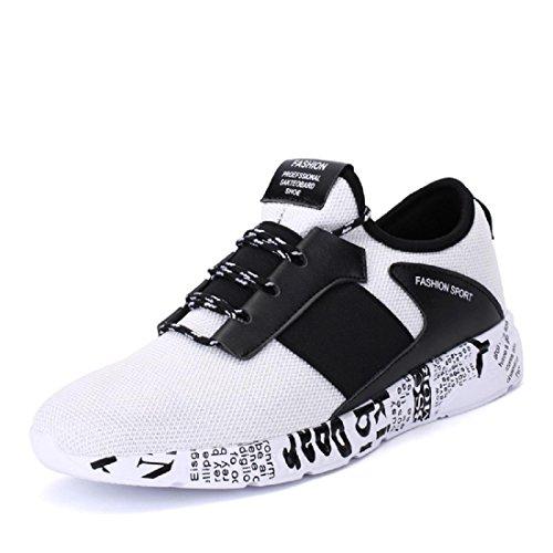 Hombres Zapatos deportivos Respirable Formación al aire libre Zapatos para correr Zapatillas white black