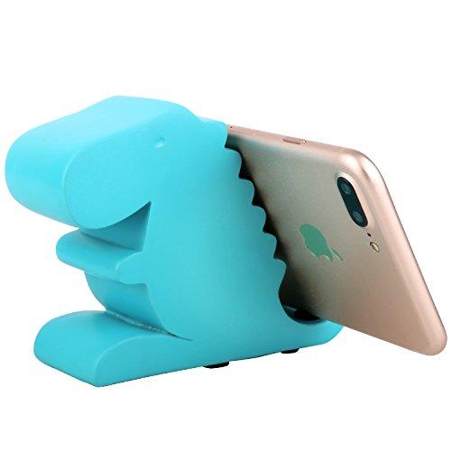 Plinrise Resin Art Cute Tyrannosaurus Dinosaur Desktop Cell Phone Stand Mounts,Decorative Candy Color Animal Dino Creative Smart Phone-T-Blue ()
