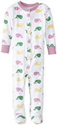New Jammies Baby Girls\' Whale Organic Baby Footie, Pink, 12 Months