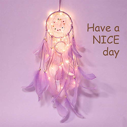 YIMEIS Kids Boho Dream Catcher Light Led Wall Hanging Dreamcatcher Night Lights for Bedroom Handmade Baby Girls Feathers Home Décor Ornament Craft Mini Purple