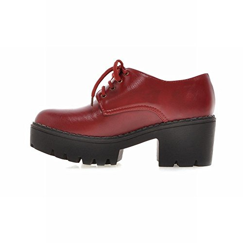 Heel Women's up Red Shoes Dark Lace Oxford Latasa Chunky wEfqHwdR