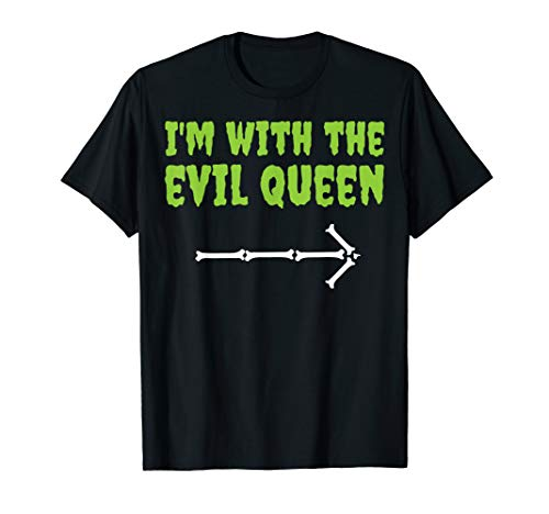 Funny Costume Ideas For Couples At Halloween (I'm With The Evil Queen Funny Halloween Couple Costume Shirt)