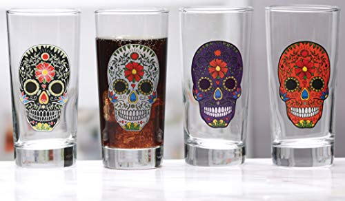 Circleware Halloween Sugar Skull Hiball Black, White, Purple, Orange, Glass Drinking Cups, Home & Kitchen Entertainment Beverage Glassware for Water, Beer, Wine, Juice, Ice Tea, Bar Gifts, 14.5 -