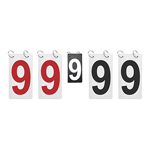 GOGO Double Sides Replacement Number Cards for Scoreboard, Plastic Flip Score Reporter-Red/White/Black