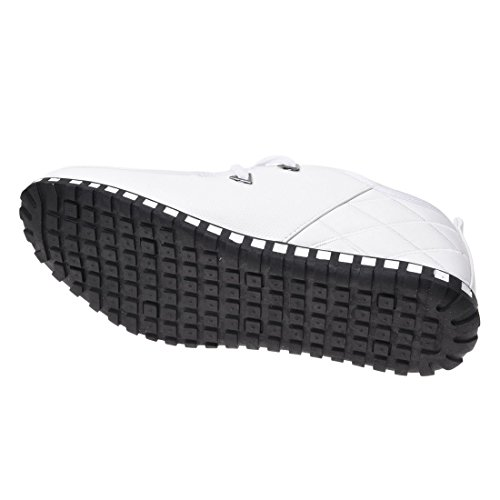 Zapatos de deporte - SODIAL(R) zapatos deportivos ocasionales y impermeable de cuero de moda para hombres(Por favor seleccione 0.5 tamano mas grande!) botas cortas y termicas de nieve blanco 6.5