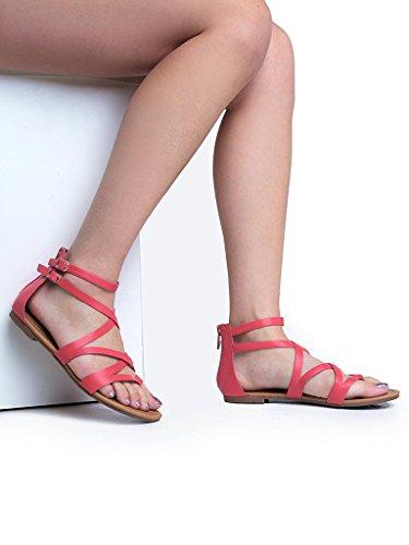 ... Breckelles Dame Åpen Tå Forstropp Bur Utskårne Flate Remmer Flats-sandaler  Rosa