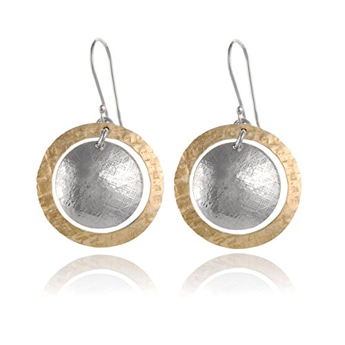 Silver Hammered Disk (Two Tone Hand Hammered Circle and Disc Earring 925 Sterling Silver & 14k Gold Filled Dangle Earrings)