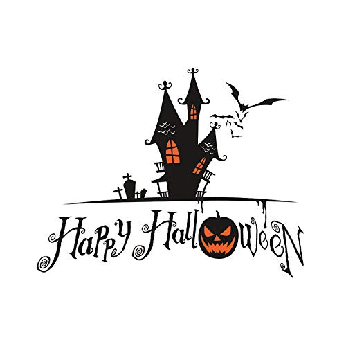 Topgalaxy.Z 16.5 x 22.8 Wall Sticker Happy Halloween Pumpkins Spooky Cemetery Witch and Bats Tomb Wall Decals Window Stickers Halloween Decorations for Kids Rooms Nursery Halloween Party