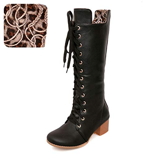HAOLIEQUAN Größe Größe Größe 31-43 Frau Kniehohe Stiefel Mode Nieten Winter Schuhe Frauen Kreuz Strap Round Toe High Heels Stiefel 1c6a92