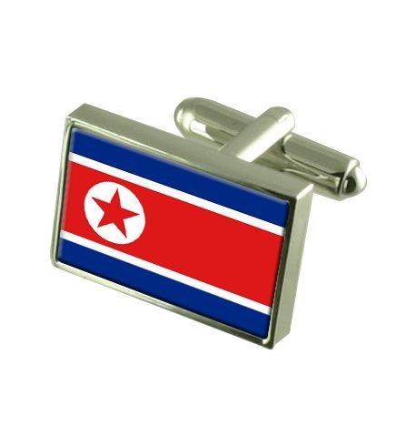Corée du Nord Boutons de manchette drapeau avec select pochette cadeaux