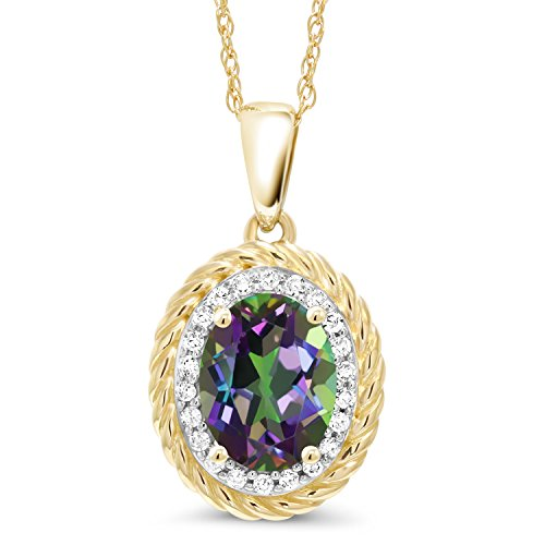 - Gem Stone King 1.45 Ct Oval Green Mystic Topaz White Diamond 14K Yellow Gold Pendant
