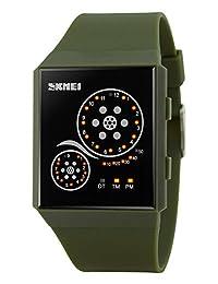 MastopUnisex Watches Digital Sport Binary Led Watch Band Waterproof Wristwatch Army Green