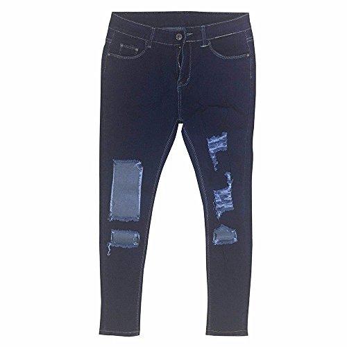 Sunenjoy Femme Jeans Trou Slim Taille Haute Trous  Jeans Dchirs Dechire Skinny Denim Pantalons Bleu