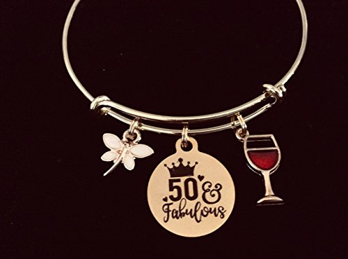 m Bracelet 50 and Fabulous Adjustable Wire Bangle Meaningful 50th Birthday Fifty Wine Glass One Size Fits All Gift Personalization and Custom Options Available ()