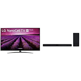 "LG 55SM8100AUA Alexa Built-in Nano 8 Series 55"" 4K Ultra HD Smart LED NanoCell TV (2019) with SL5Y 2.1 Channel High Resolution Sound Bar w/DTS Virtual:X, Black"