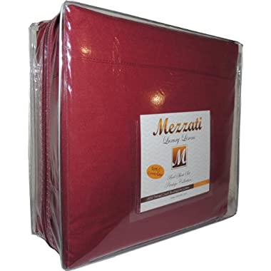 Mezzati Luxury Bed Sheets Set - Sale - Best, Softest, Coziest Sheets Ever! - High Quality 1800 Prestige Collection Brushed Microfiber Bedding - Money Back Guarantee (Burgundy, Queen)
