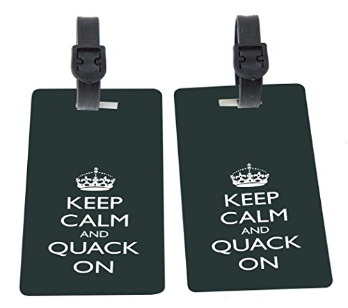 Rikki Knight Keep Calm And Quack On -Green Color Design Premium Quality Plastic Flexi Luggage Tags with Strap Closure - Great for Travel (set of 2)