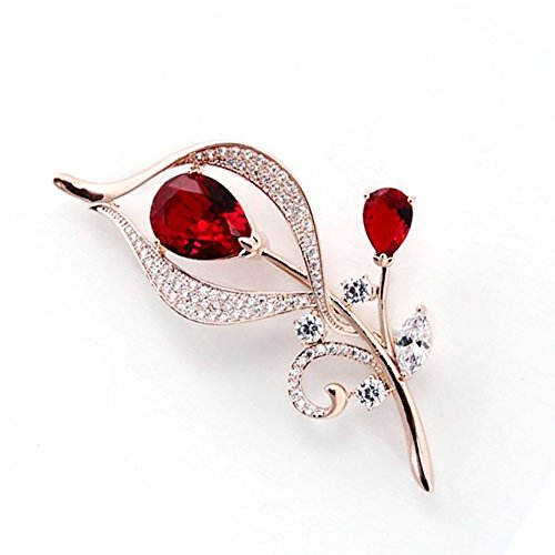 Butterfly Ruby Brooch (Hanie Ruby Flower Brooch Rose Gold Tone Teardrop and White Round Cubic Zircon)