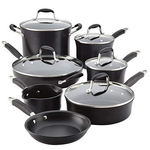 Anolon Advanced Hard Anodized Nonstick Cookware/Pots and Pans Set, 12 Piece, Black