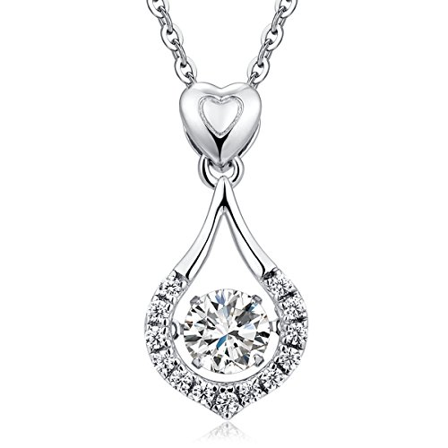 Sterling Silver Heart Necklace Pendant Twinkling CZ Diamond Fashion Pendant Heart Shaped Teardrop Necklace Chain