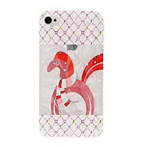 GJY Cute Horse Pattern Diamond Effect Surface Plastic Hard Case for iPhone 4/4S