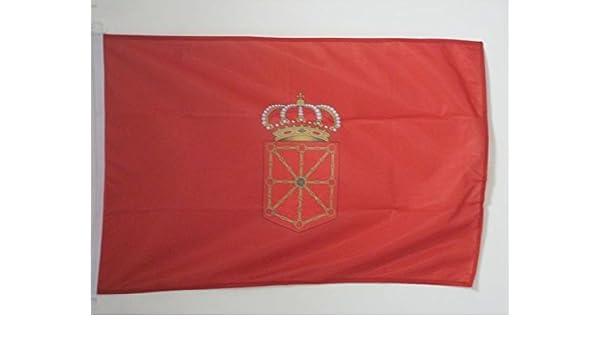AZ FLAG Bandera Nautica de la Comunidad Foral DE NAVARRA 45x30cm - Pabellón de conveniencia NAVARRA 30 x 45 cm Anillos: Amazon.es: Jardín