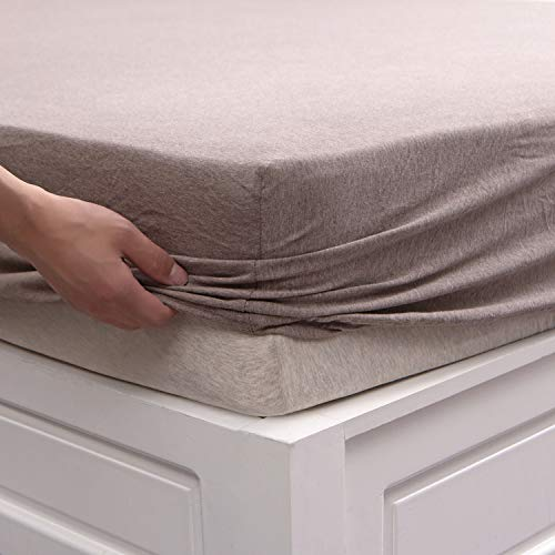 PURE ERA Jersey Knit Cotton Fitted Bottom Sheet ONLY (No Flat Sheet or Shams) - Deep Pocket Up to 15