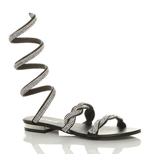 Ajvani Womens Ladies mid Low Heel Sparkly Diamante wrap Around Ankle Strap Sandals Size Black 2f0wG