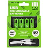UNI-COM - Pilas AA Ni-MH Recargables (4 Unidades, Incluye Cable Micro USB, 1000 mAh)