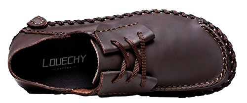LOUECHY Mens Achicle Wide Casual Shoes Flats Walking Shoes Soft Leather Loafers Lace-Up Driving Shoes Coffee TKRDdDMdJD