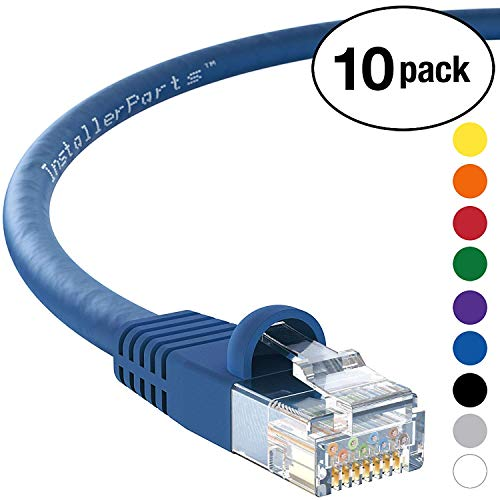 (InstallerParts (10 Pack) Ethernet Cable CAT5E Cable UTP Booted 3 FT - Blue - Professional Series - 1Gigabit/Sec Network/Internet Cable, 350MHZ)