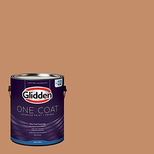 Glidden Exterior Paint + Primer: Orange/Hitching Post, One Coat, Semi-Gloss, 1-Gallon