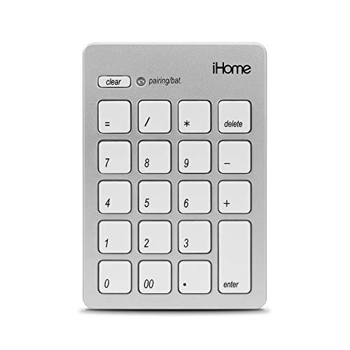 iHome Wireless Bluetooth 3.0 Slim Numeric Keypad for Mac, Wide 20-Keys, Laptops and Desktop Computers, Compact and Portable, Accounting/Coding - Silver