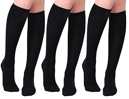 Joulli Women's Casual Knee High Socks, Black, One Size