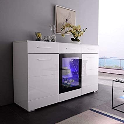 Mecor LED Sideboard Buffet Cabinet Server Table Storage with 3 Door/2  Drawers,Kitchen Dining Room Furniture,White