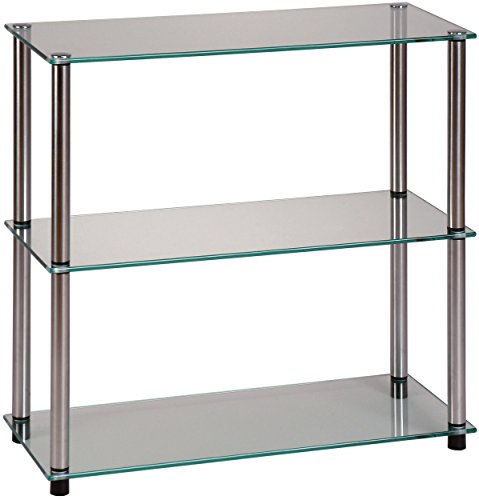 Bookcase Silver Cabinet - Convenience Concepts Designs2Go Go-Accsense 3-Shelf Glass Bookcase, Clear Glass