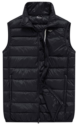 Wantdo Men's Packable Puffy Ski Vest Down Jacket, Black, XL