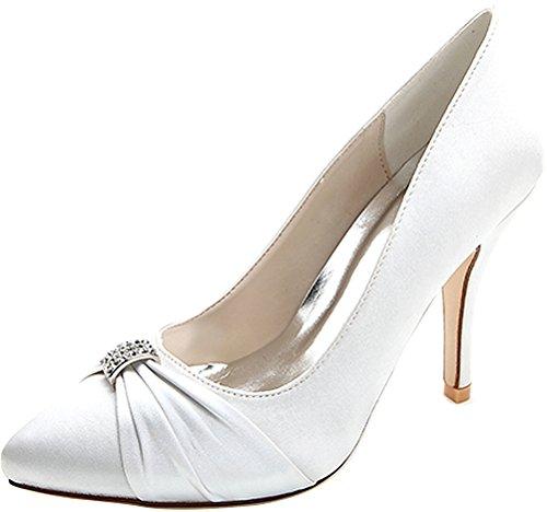 18 White Satin Bride Salabobo Heeled 0255 Work Pointed Wedding Ladies Comfort Toe Pumps Ol Job Nightclub Rhinestone Cw6n5axqI6