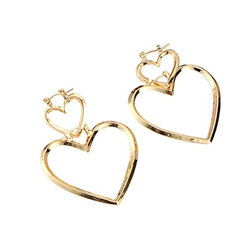 RoseSummer 1 Pair Women Hoop Gold Double Heart Earrings Dangle Hollow Ear Studs (Double Heart Dangle Earrings)