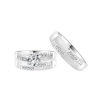 14k White Gold, Trio 3 Piece Set Wedding Rings Round Created CZ Crystals 1.0ct