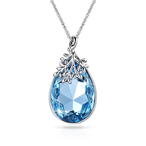 Alantyer Elegant Aquamarine Teardrop Pendant Necklace for Women, Made with Swarovski Crystals, 18K White Gold Plated Necklace, Nickel/Lead/Allergy Free, Luxury Gift Box, Ideal Mothers Day Gift, - Plated Pendant Gold Drop