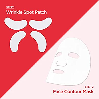 Easydew 2-Step Face Contour Sheet Mask. Award-winning Korean Face Mask with DW-EGF, Niacinamide & Adenosine for Anti-Winkle, Reducing Fine Line & Skin Tightening. 5 Sets
