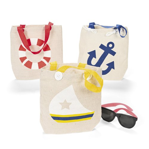 Natural Canvas Nautical Tote Bags