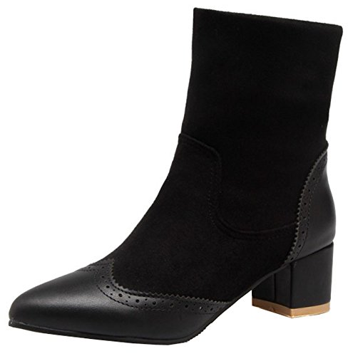 Toe On Boots Ankle Pointy Heeled Chunky Pull Black High Elegant Low Women's Martin Easemax R7xqaw8f7