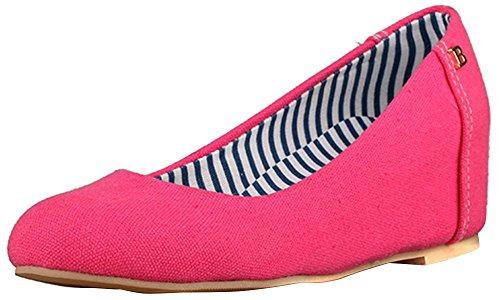 Beautosoul Femmes Occasionnels Bout Rond Chaussures Compensées Colorées Hauts Talons Pour Les Dames Rose