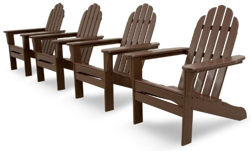 Ivy Terrace IVS101-1-MA Classics 4-Piece Adirondack Set, Mahogany (Seat 4 Polywood)