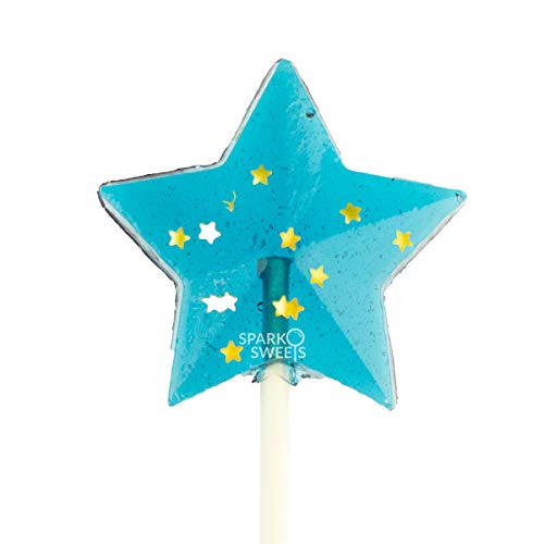 Sparkly Navy Star Lollipops, 24 Pieces, Blackberry Flavor, Made in USA -