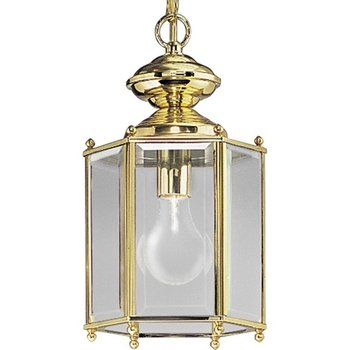 (Progress Lighting P5834-10 Hexagonal Lantern with Beveled Glass Chain and Ceiling Mounts Both Included, Polished)