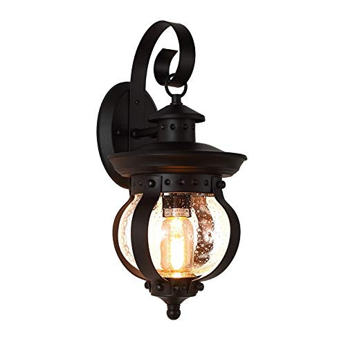 (Traditional Victorian Exterior Wall Lantern -1Light,Indoor/Outdoor Wall Sconce, Black with Seeded Glass Shade - Perfect Corridor, Staircase, Courtyard, Balcony, Garden Outside Wall Landscape Light)