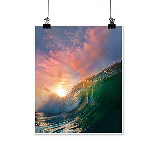 (Wall Art Beautiful Ocean Surfing Shorebreak Wave at Sunset time for Hallway Bathroom,20